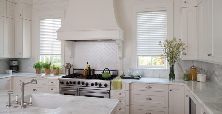 Phoenix white faux wood blinds